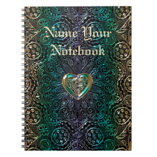 Celtic Heart Mandala In Green Gold Notebook