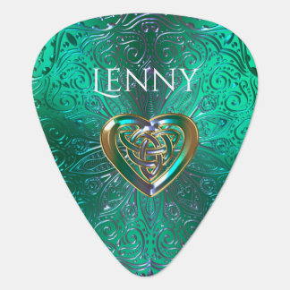 Celtic Heart Mandala In Green Gold Plectrum