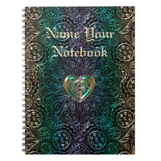 Celtic Heart Mandala In Green Gold Spiral Note Book