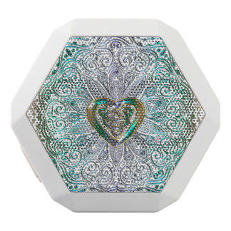 Celtic Heart Mandala In Green Gold White Bluetooth Speaker