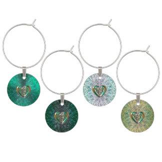 Celtic Heart Mandala In Green Gold Wine Charm