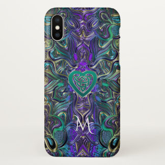 Celtic Heart Pastel Mandala Monogram iPhone X Case