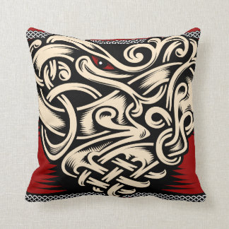 Celtic heart red black beige cushion