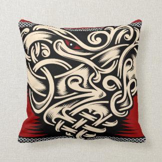 Celtic heart red black beige throw pillow