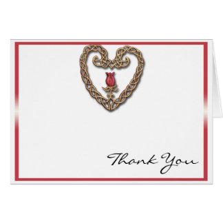 Celtic Heart with a Red Rose Thank You Cards