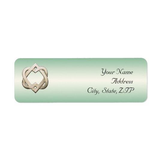 Celtic Hearts on Green Gradient Return Address Label