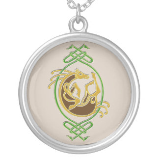 Celtic Horse - colors Silver Plated Necklace
