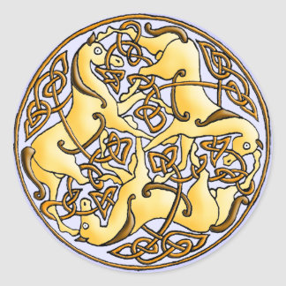 Celtic horses and knots in circle classic round sticker
