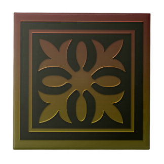 Celtic Inspired Tile # 2 in bronze and green tones