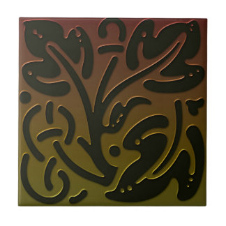Celtic Inspired Tile # 3 in bronze and green tones
