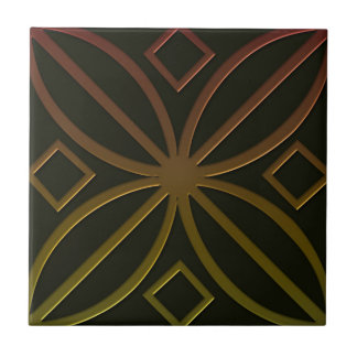 Celtic Inspired Tile # 4 in bronze and green tones