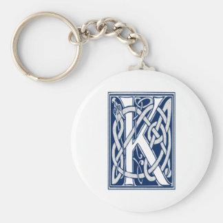 Celtic K Monogram Basic Round Button Key Ring