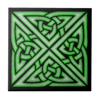 Celtic Knot Art Design  in Green Small Square Tile