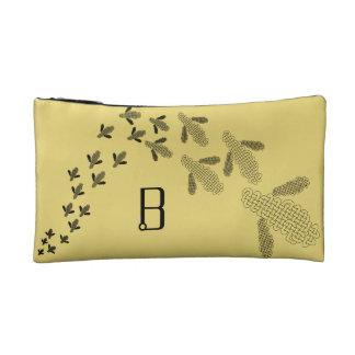 Celtic knot bee monogram clutch makeup bag