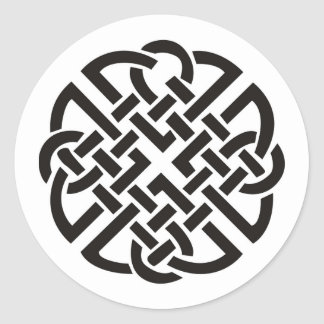 Celtic Knot Black and White Classic Round Sticker