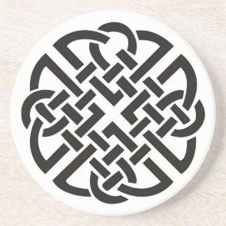 Celtic Knot Black and White Coaster