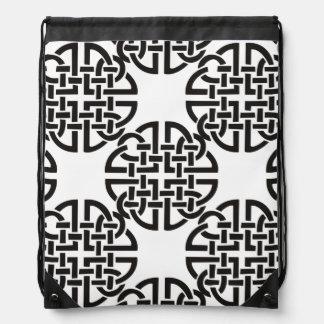 Celtic Knot Black and White Drawstring Bag