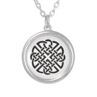Celtic Knot Black and White Silver Plated Necklace