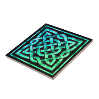 Celtic Knot Ceramic Tile: Square Blue Green Design Small Square Tile
