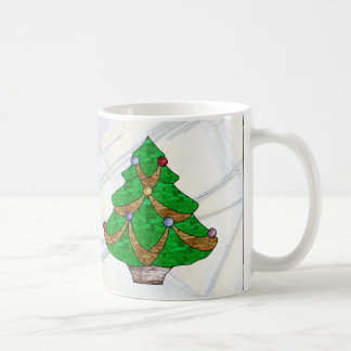 Celtic Knot Christmas Tree in Stained Glass Basic White Mug