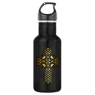 Celtic Knot Cross in Gold and Black 532 Ml Water Bottle