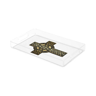 Celtic Knot Cross in Gold and Black Acrylic Tray