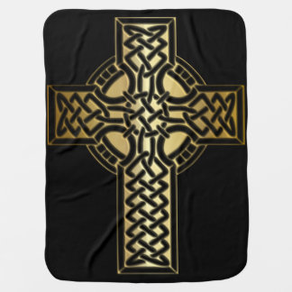 Celtic Knot Cross in Gold and Black Baby Blanket