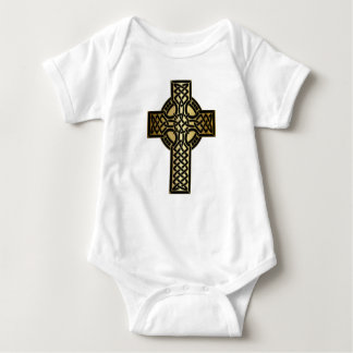 Celtic Knot Cross in Gold and Black Baby Bodysuit
