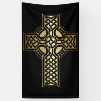 Celtic Knot Cross in Gold and Black Banner