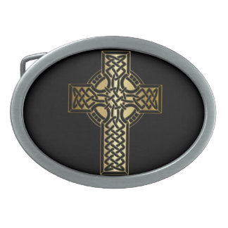 Celtic Knot Cross in Gold and Black Belt Buckle
