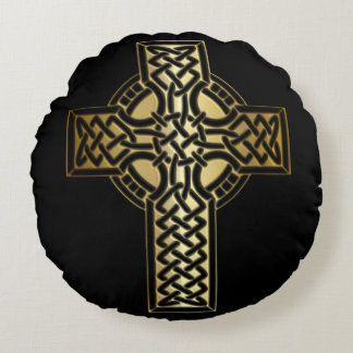 Celtic Knot Cross in Gold and Black Round Cushion