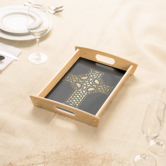 Celtic Knot Cross in Gold and Black Serving Tray
