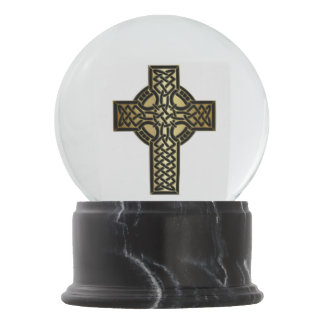 Celtic Knot Cross in Gold and Black Snow Globe