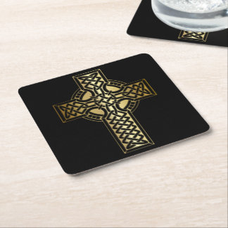 Celtic Knot Cross in Gold and Black Square Paper Coaster