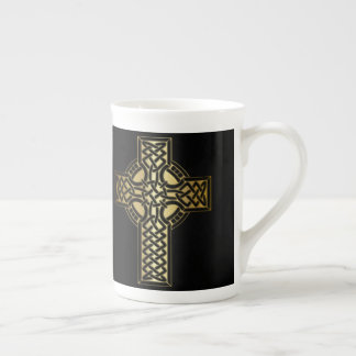 Celtic Knot Cross in Gold and Black Tea Cup