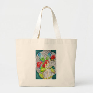 celtic knot cross red rose fairy large tote bag