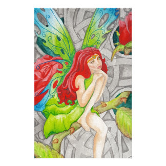 celtic knot cross red rose fairy stationery