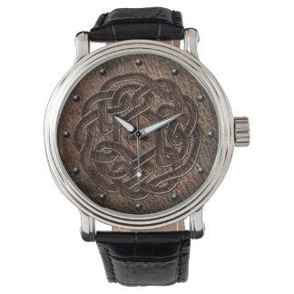 Celtic knot dark embossed on leather digital art watch