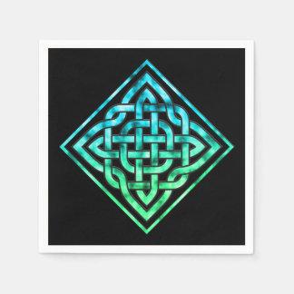 Celtic Knot - Diamond Blue Green Disposable Napkins