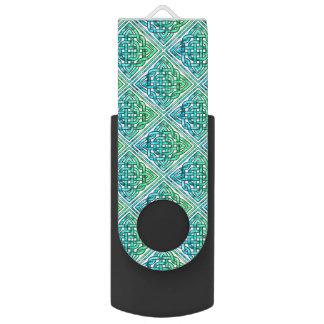 Celtic Knot - Diamond Blue Green Swivel USB 2.0 Flash Drive
