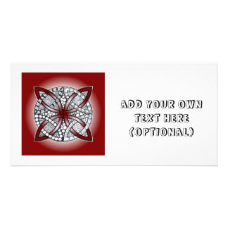 Celtic Knot Doodle Maroon Red Personalised Photo Card