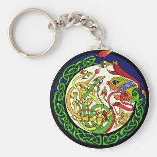 Celtic Knot Dragon Mandala Key Ring