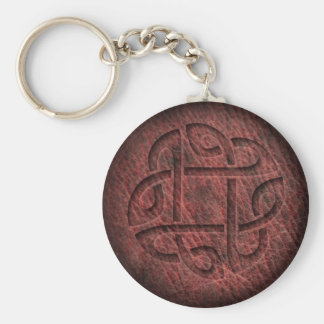 Celtic knot embossed leather key ring