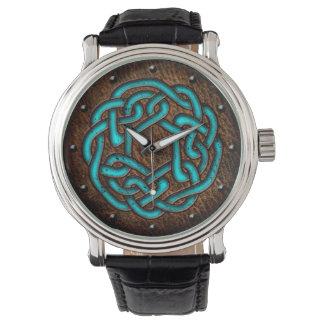 Celtic knot enameled blue on leather digital art watch