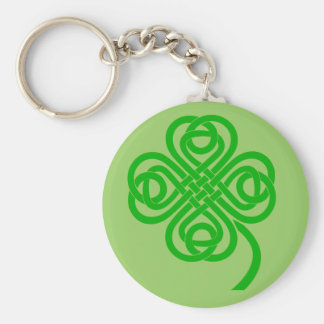 Celtic Knot four leaf clover Basic Round Button Key Ring