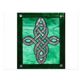 celtic knot green silver stained Glass Postcards