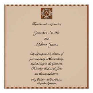 Celtic Knot in Cream and Rust Wedding Invitation