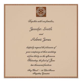 """Celtic Knot in Cream and Rust Wedding Invitation 5.25"""" Square Invitation Card"""