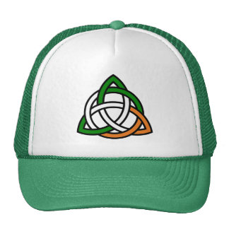Celtic Knot in Green Orange and White Cap