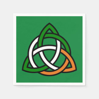 Celtic Knot in Green Orange and White Disposable Serviette